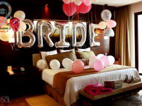 تزیین اتاق عروس با بادکنک و روبان